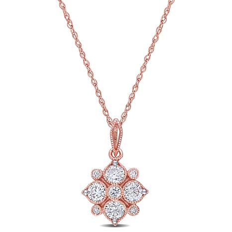 "14K Rose Gold .50ctw Diamond Geometric Pendant with 17"" Chain"