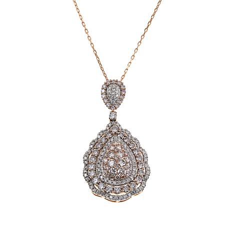14K Rose Gold 5.11ctw Pink and White Diamond Pear-Shaped Pendant