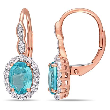 14k Rose Gold Diamond Accent With Apae And White Topaz Earrings