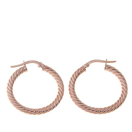 979abe41c0cc3 14K Rose Gold Twisted Hoop Earrings