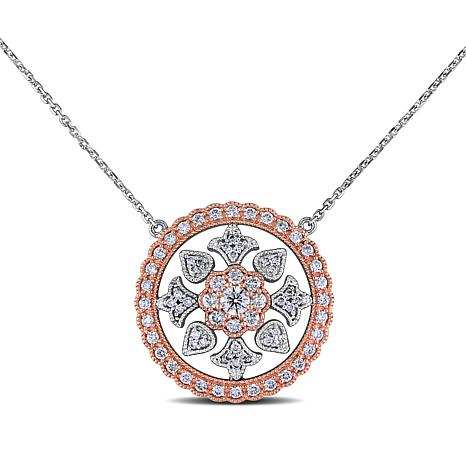14K White and Rose Gold 1ctw Diamond Fashion Drop Necklace