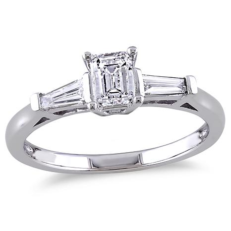 14K White Gold 0.7ctw 3-Stone Tapered Diamond Engagement Ring