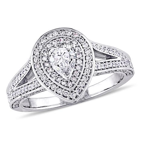 14K White Gold 0.98ctw Diamond Pear Engagement Ring