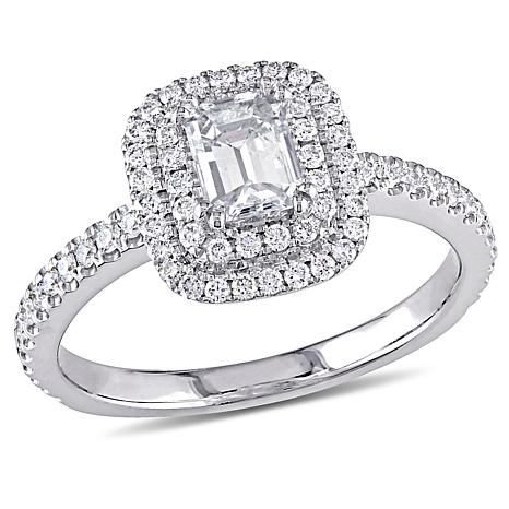 14K White Gold 0.98ctw Emerald-Cut Diamond Halo Engagement Ring