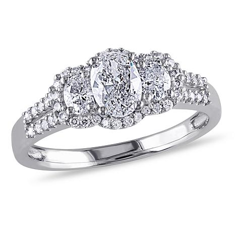 14K White Gold 0.99ctw Diamond 3-Stone Engagement Ring