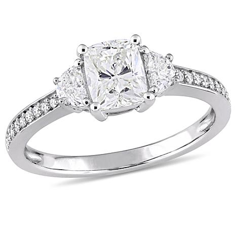 14K White Gold 1.38ctw Diamond Cushion-Cut Center Ring