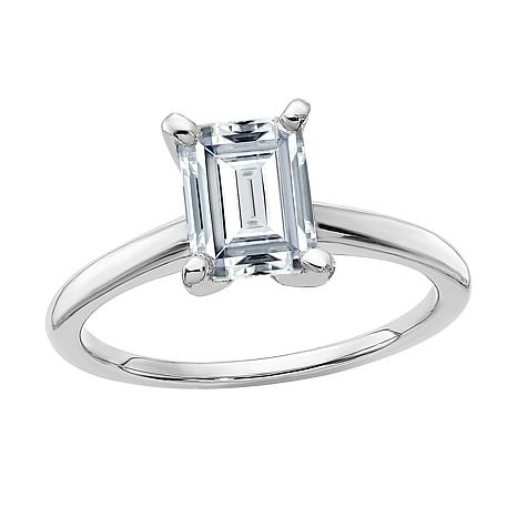 14K White Gold 1.75ct Moissanite Emerald-Cut Solitaire Ring