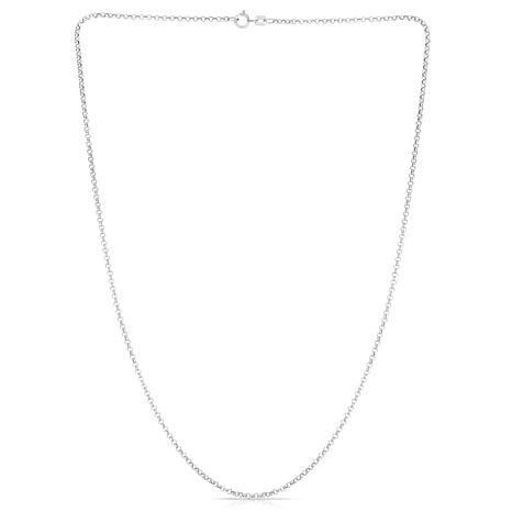"""14K White Gold 1.9mm Rolo Link Chain - 16"""""""