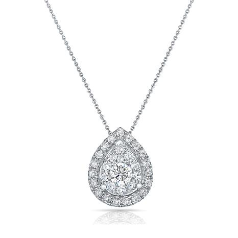 "14K White Gold 1ctw Diamond Pear Framed Pendant with 18"" Chain"