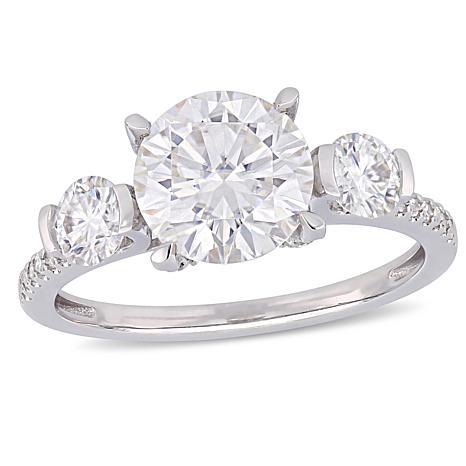 14K White Gold 2.5ct Moissanite and 0.16ctw Diamond 3-Stone Ring