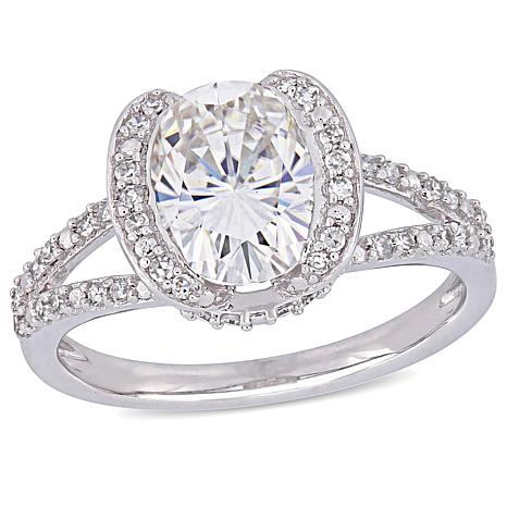 14K White Gold 2ct Moissanite and 0.25ctw Diamond Heart-Design Ring