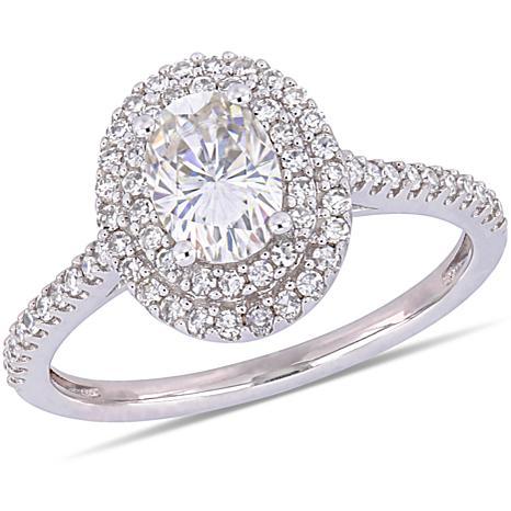 14K White Gold .75ct Moissanite & .32ctw Diamond Oval Double-Halo Ring