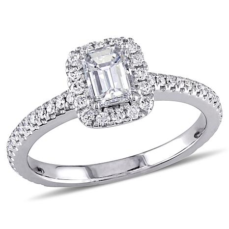 14K White Gold .87ctw Emerald-Cut Diamond Halo Engagement Ring