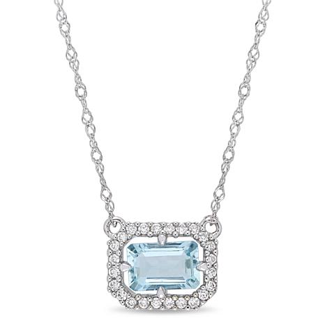 14K White Gold Diamond and Aquamarine Floating Halo Necklace