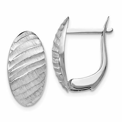 14K White Gold Textured Hugger Hoop Earrings