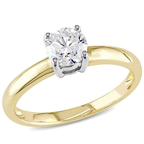 14K Yellow Gold 0.5ct Moissanite Solitaire Ring