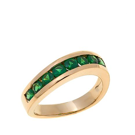 14K Yellow Gold 0.96ctw Tsavorite Band Ring