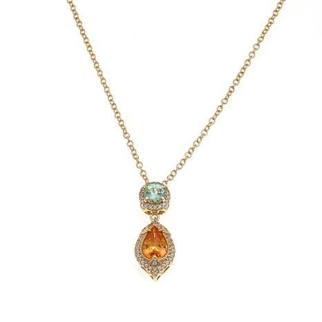 14K Yellow Gold 1.25ctw Spessarite, Mint Garnet and Zircon Pendant