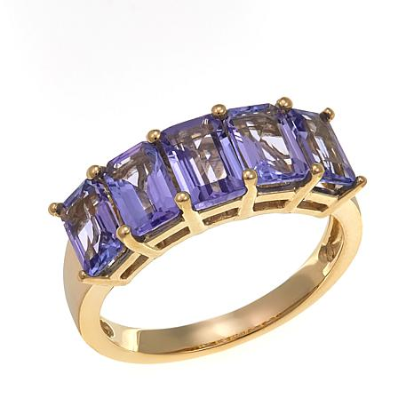 quality gold diamond cut tanzanite trilogy ring dress emerald and