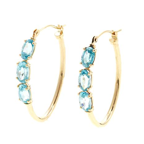 14K Yellow Gold 3-Stone Hoop Earrings