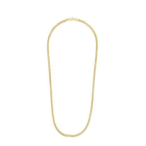 """14K Yellow Gold 3.4mm Round Box Chain Necklace - 24"""""""
