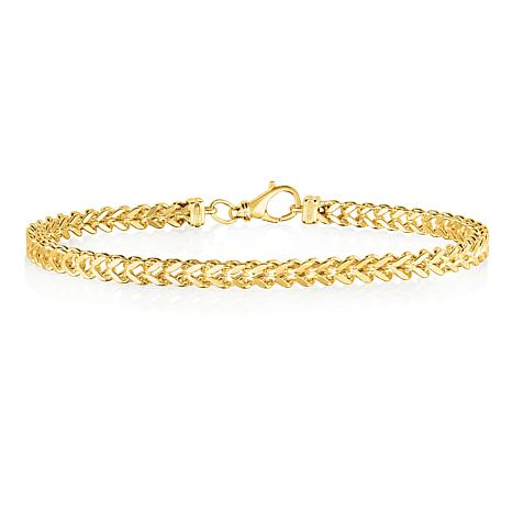 14K Yellow Gold 3.9mm Semi-Solid Square Franco Chain Bracelet - 8-3/4""
