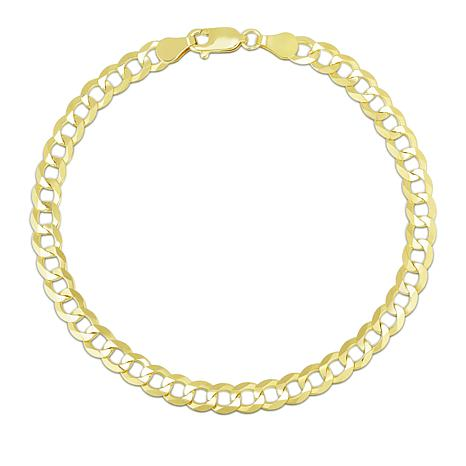 14K Yellow Gold 4.7mm Diamond-Cut Comfort Curb Chain Bracelet - 8-1/2""