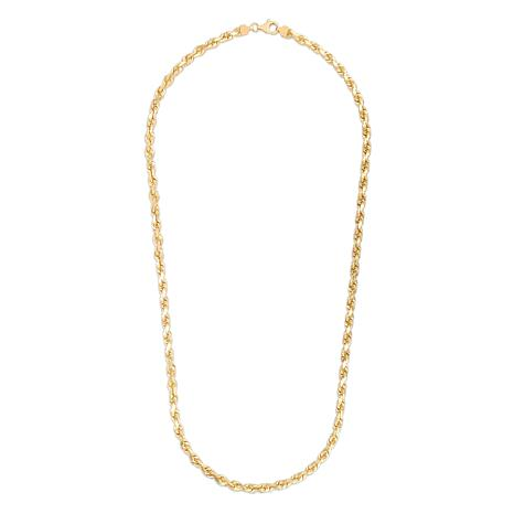 """14K Yellow Gold 6mm Solid Rope Chain Necklace - 26"""""""