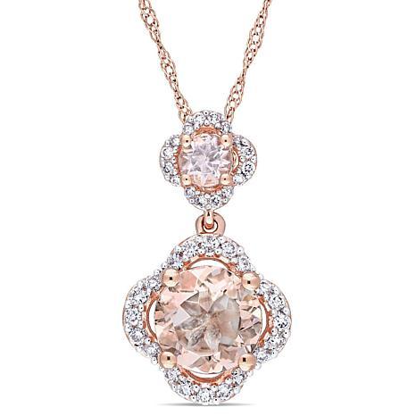 1.53ctw Morganite and Diamond 14K  Double Drop Pendant