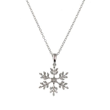 .15ctw Diamond Snowflake Sterling Silver Pendant-Necklace