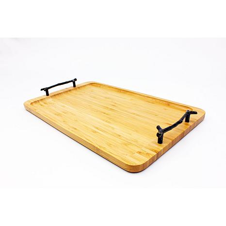"16"" Bamboo Tray with Wrought Iron Handles"