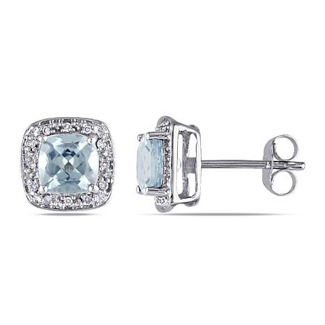 1.79ctw Cushion-Cut Aquamarine and Diamond 10K Earrings