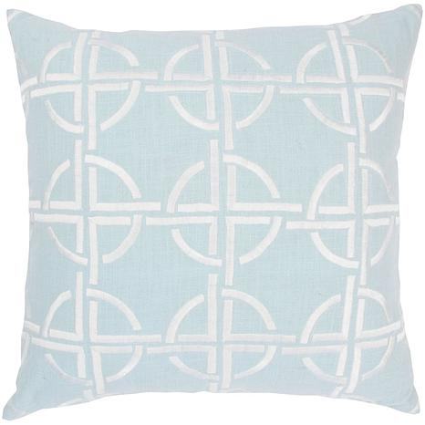 "18"" x 18"" Circles and Squares Pillow - Spa/White"