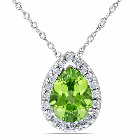 "1.84ctw Peridot and Diamond 14K Pendant with 17"" Chain"