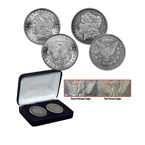 "1878 Circulated Morgan Silver Dollar ""Flat/Round Breasted Eagle"" 2pk"