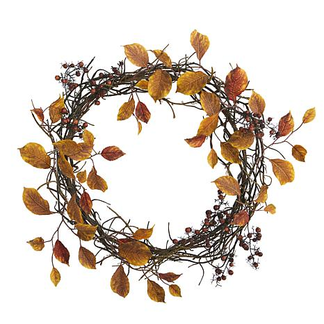 19 in. Harvest Leaf, Berries  and Twig Artificial Wreath