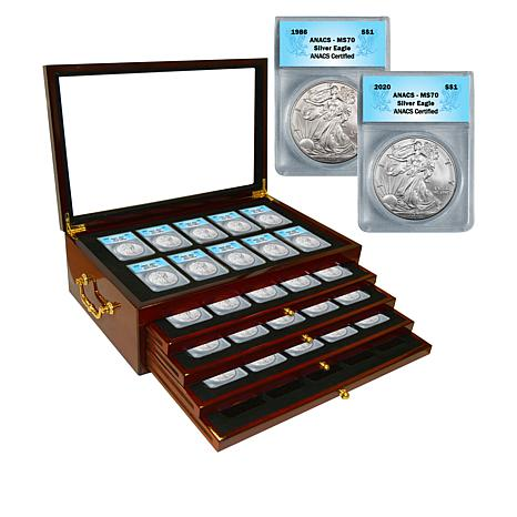 1986-2020 Set of 35 MS70 ANACS 99.93% Silver Eagle Dollar Coins