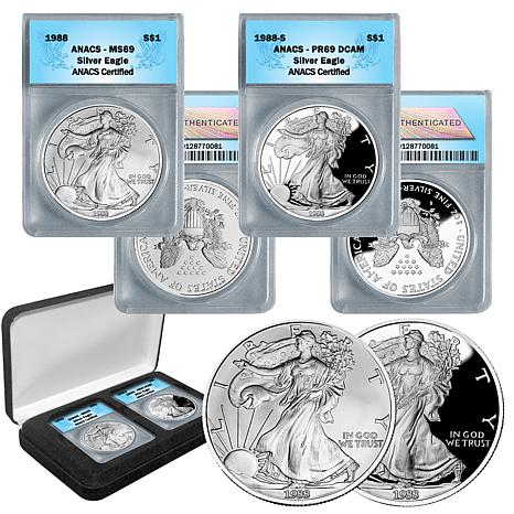 1988 MS69 and PR69 DCAM ANACS Silver American Eagle Set