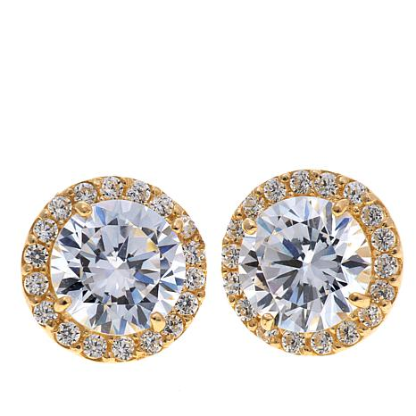 1.98ctw Absolute™ 10K Round Halo Pavé Stud Earrings