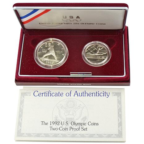1992 Olympic 2pc Proof Commemorative Coin Set