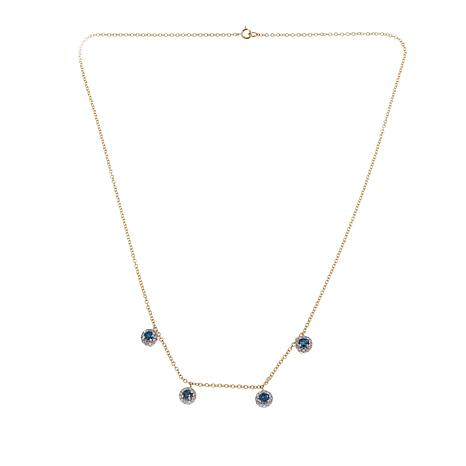 """1ctw Colored and White Diamond Halo-Drop 10K Yellow Gold 18"""" Necklace"""