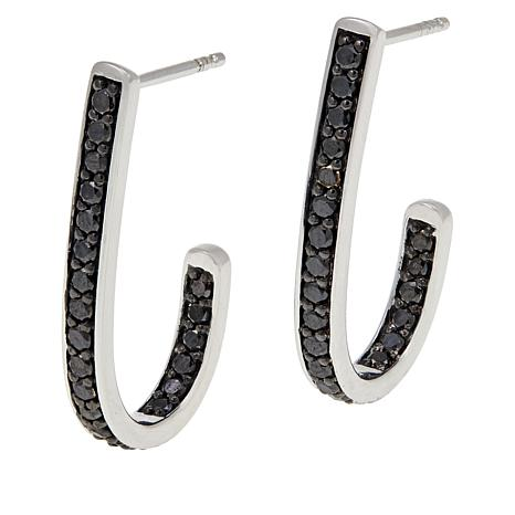1ctw Colored Diamond Sterling Silver J-Hoop Earrings