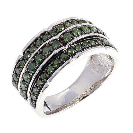 1ctw Green Diamond 3-Row Sterling Silver Band Ring