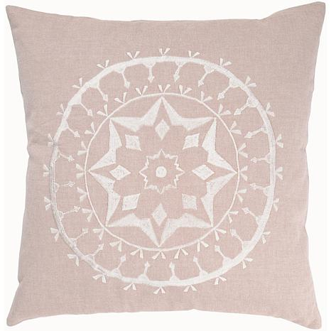 "20"" x 20"" Embroidered Cotton Pillow - Flax/Off-White"