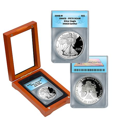 2008 PR70 ANACS DCAM Silver Eagle Dollar Coin in Box