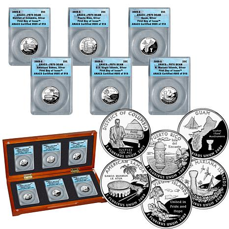 2009 PR70 DCAM First Day of Issue Silver DC and Territorial State Q...