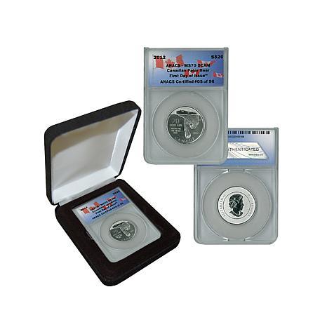 2012 MS70 ANACS FDOI LE 96 $20 Silver Polar Bear Coin