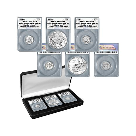 "2015 ANACS ""69"" FDOI LE 859 March of Dimes Silver Coins"