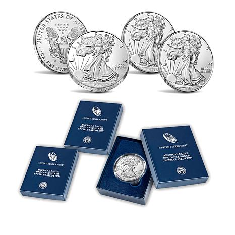 2016, 2017 and 2018 W-Mint Satin-Finish Silver Eagle Dollar Coins