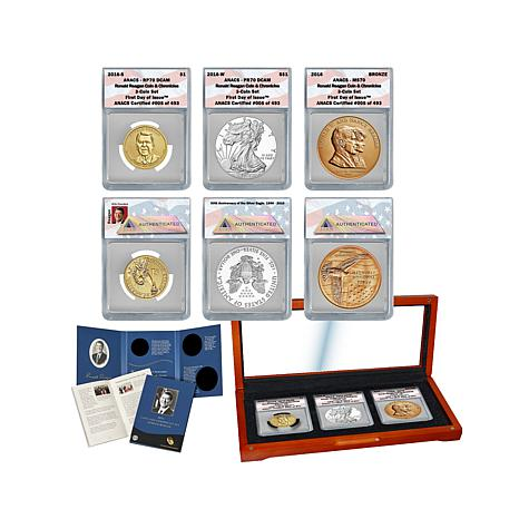 "2016 ANACS ""70"" FDOI Ronald Reagan Coin and Chronicles"